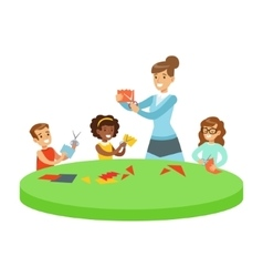 Three Children In Art Class Crafting Applique vector image vector image