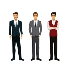 Three men businessman team work vector