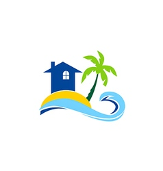 Travel house beach tropic palm tree sunset logo vector