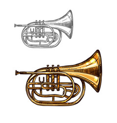 trumpet or horn jazz music instrument sketch vector image vector image