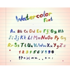 Watercolor colorfull font vector image