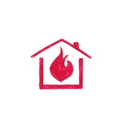 Watercolor house in flame on the white background vector