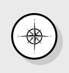 Wind rose sign flat black icon in white vector