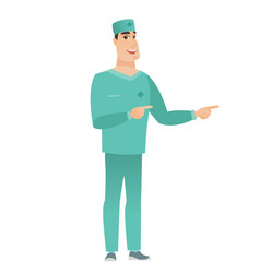 young caucasian doctor pointing to the side vector image vector image