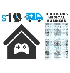 Game center building icon with 1000 medical vector