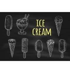 Ice cream chalk sketch icons on blackboard vector