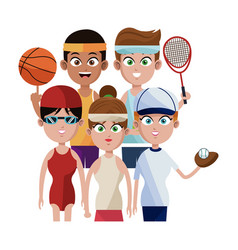 Assorted sports people icon imag vector