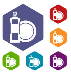 Dishwashing liquid detergent and dish icons set vector