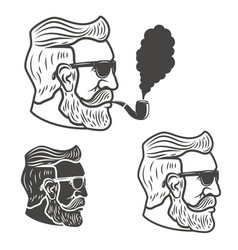 Bearded man head with smoking pipe isolated on vector