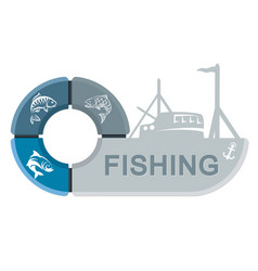 Fishing vessel with infographics vector