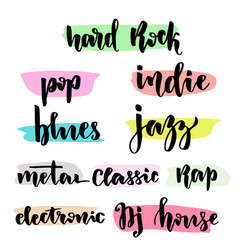 Music styles typographic set with hand lettering vector