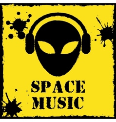 Alien space music logo on yellow background vector
