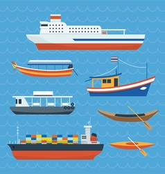 Various kind of ship boat ferry vector