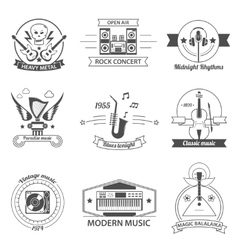 Black and white music styles labels vector