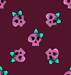 Doodle seamless pattern with skull - 2 vector