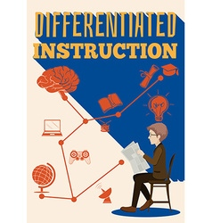 Differentiated instruction sign with a man vector