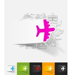 Plane paper sticker with hand drawn elements vector