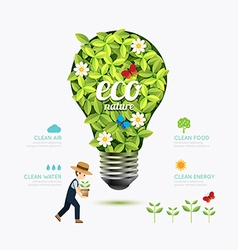 Ecology infographic green bulb shape with farmer vector
