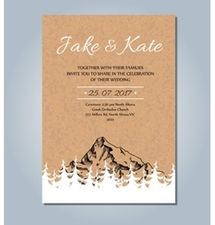 Mountain wedding invitation rustic card vector