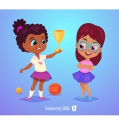 Cute girls with prize back to school vector
