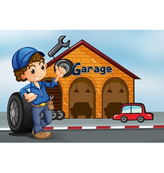 A boy standing in front of a garage vector image vector image