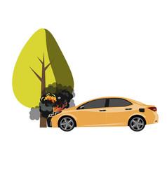 ar crash with a big tree vector image vector image
