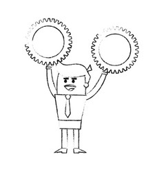 blurred silhouette image cartoon business man vector image vector image
