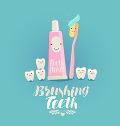 brushing teeth banner tooth toothpaste vector image