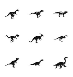 Different dinosaur icons set simple style vector