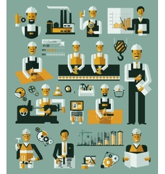Factory production process icons set infographic vector image