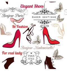fashion seamless background pattern with shoes vector image