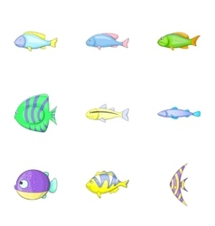 Fish icons set cartoon style vector image vector image