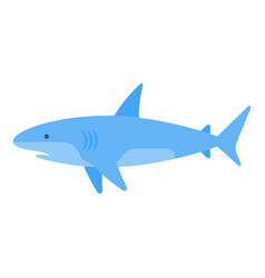 Flat style of white shark vector