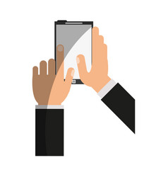 Hands holding cellphone icon image vector