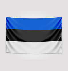 Hanging flag of estonia republic of estonia vector