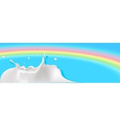 Milk splash with rainbow background - vector