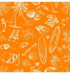 orange surfing hand draw pattern vector image vector image