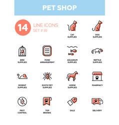 pet shop - modern simple thin line design icons vector image