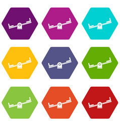 Seesaw icon set color hexahedron vector