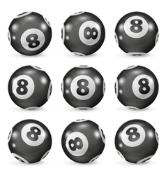 Set of billiard balls eights from different angles vector