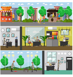 set of detective posters banners in flat vector image vector image