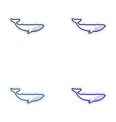 Set paper stickers on white background whale vector