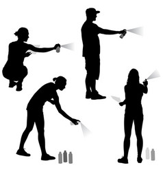 Set silhouette man and woman holding a spray on a vector
