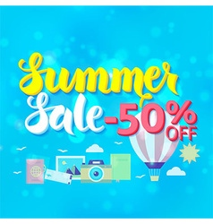 Summer sale 50 off lettering over blue blurred vector