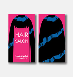 Template design card with long black hair on pink vector