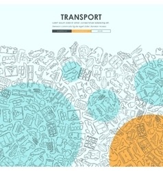 Transport doodle website template design vector