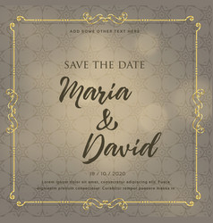 wedding invitation card design with decorative vector image