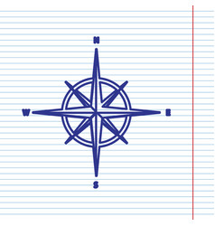 Wind rose sign navy line icon on notebook vector