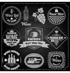 Wine set elements chalkboard vector