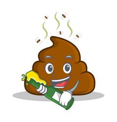 with beer poop emoticon character cartoon vector image